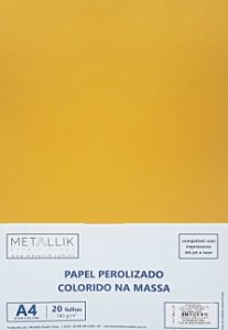 Papel perolado A4 colorido na massa liso Mostarda