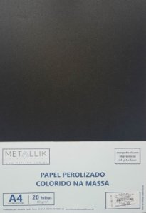 Papel perolado A4 colorido na massa liso Ônix