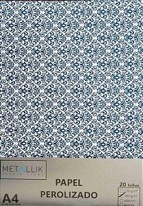 Papel perolado A4 Arabesco 5 Azul Escuro