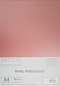 Papel perolado A4 Liso Rosa Quartz