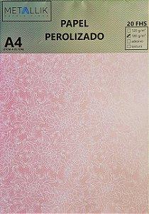 Papel perolado A4 Renda 1 Rosa
