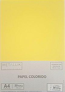 Papel A4 colorido na massa liso Amarelo
