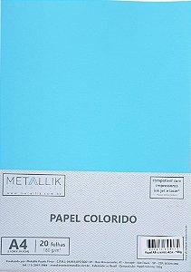 Papel A4 colorido na massa liso Azul - 20 folhas
