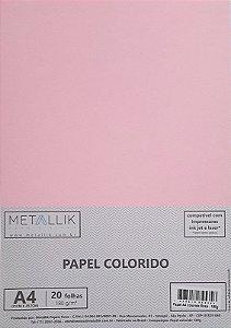 Papel A4 colorido na massa liso Rosa - 20 folhas