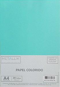 Papel A4 colorido na massa liso Verde água - 20 folhas