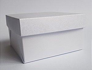 Caixa quadrada (7x7x4) Renda 1 Branco
