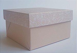 Caixa quadrada (7x7x4) Renda 1 Nude