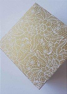 Caixa quadrada (7x7x4) Renda 1 Ouro