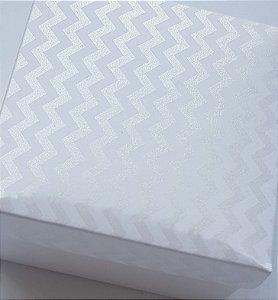 Caixa quadrada (7x7x4) Mini Chevron Branco