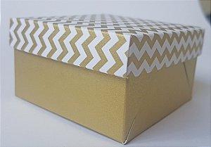 Caixa quadrada (7x7x4) Mini Chevron Ouro