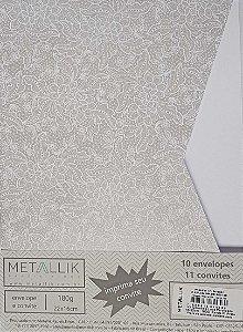 Kit Convite + Envelope Luva Renda 1 Prata