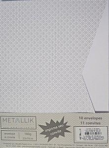 Kit Convite + Envelope Luva Arabesquinho Prata
