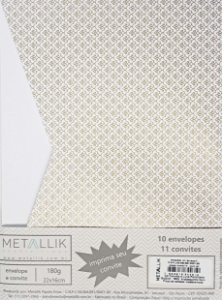 Kit Convite + Envelope Luva Arabesquinho Ouro
