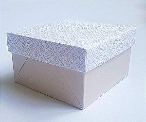 Caixa quadrada (7x7x4) Arabesquinho Nude