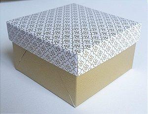 Caixa quadrada (7x7x4) Arabesquinho Ouro