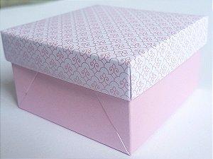 Caixa quadrada (7x7x4) Arabesquinho Rosa