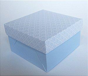 Caixa quadrada (7x7x4) Arabesquinho Azul