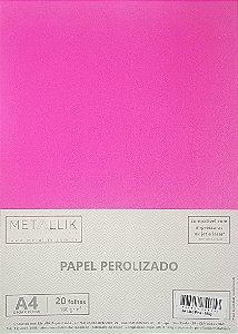 Papel perolado A4 Liso Pink