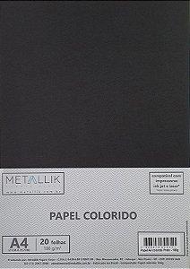Papel A4 colorido na massa liso Preto - 20 folhas
