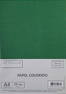 Papel A4 colorido na massa liso Verde - 20 folhas