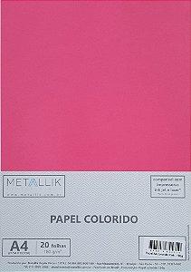 Papel A4 colorido na massa liso Pink - 20 folhas