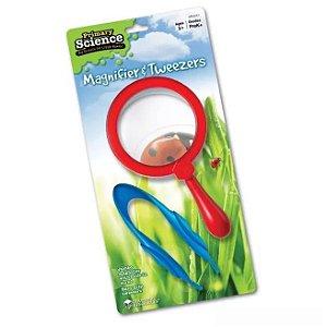 Brinquedo Lupa e Pinça Gigantes - Jumbo Magnifiers - Brincando de explorador da natureza
