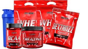 Kit 2x Whey Protein  900g  + Bcaa + Creatina + Coqueteleira+ Dextrozz