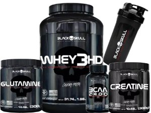 Kit Whey 3hd + Creatina + Glutamina + Bcaa - Black Skull -