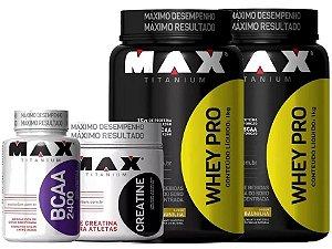 2x Whey Protein + Bcaa + Creatina  - Max Titanium
