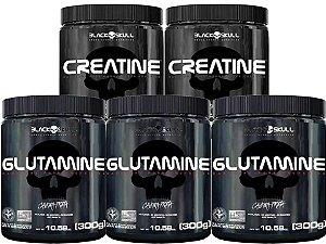 3x Glutamina 300g Black Skull + 2x Creatina 300g Black Skull