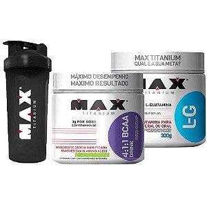 Kit Bcaa Drink Em Pó 280g + Glutamina 300g + Coqueteleira Max Titanium