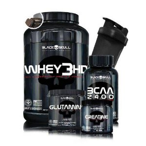 Kit Whey 3HD 900g + Bcaa + Creatina + Glutamina  + Coqueteleira