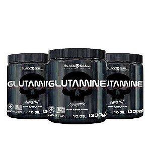 Combo 3 Glutamina 300g - Black Skull - Caveira Preta