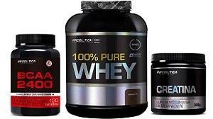 100% Pure Whey 2kg Probiótica + Creatina + Bcaa