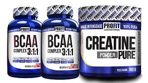 2x Bcaa Complex 60 cáps + 1x Creatina Powder 300g - PROFIT