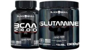 Glutamina 300g + Bcaa 100 Tabletes Black Skull