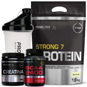 Kit - Whey Strong + Creatina + Bcaa + Coqueteleira - Probiót