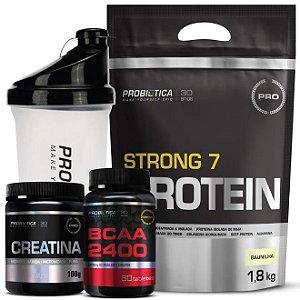 Kit - Whey Strong + Creatina + Bcaa + Coqueteleira - Probiót