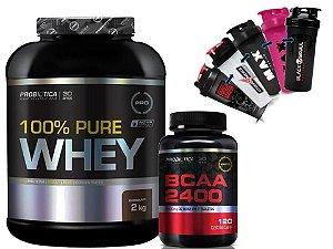 100% Pure Whey 2kg  baunilha Probiótica + Bcaa