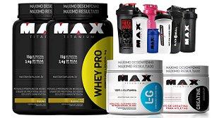 Combo 2 Whey Pro + Glutamina + Creatina + Coqueteleira - Max