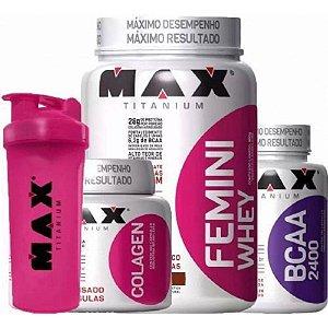 Kit Feminino Max Titanium : Femini Whey + Colagen 100 Caps +