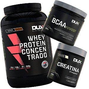 Kit Suplementos Whey Protein + Bcaa + Creatina Creapure Dux
