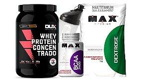 Whey Concentrado 900g Dux+Dextrose max+Bcaa 60 max+ Shaker -