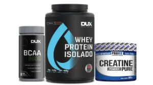 Kit hipertrofia Whey isolado dux 900+bcaa 100 +creatina 300g
