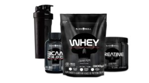 KIT BLACK SKULL WHEY 900+ BCAA 30CAPS + CREATINA 150G + COQ
