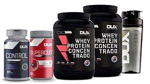 2x Whey Protein 900g + Cafeína + Emagrecedor + Shaker - Dux