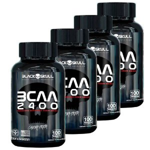 Combo 4x Bcaa 2400 - 100 Capsulas Black Skull Caveira Preta