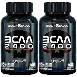 Kit 2x Bcaa 2400 - 100 Capsulas - Black Skull Caveira Preta