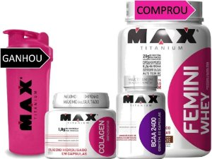 Combo Mulher Whey Protein Iso + Bcaa + Colágeno Max Titanium