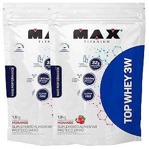 Kit 2x Top Whey 3w Mais Perfomance Refil 1,8kg Max Titanium